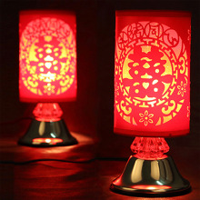 Red Chinese Table Lamps Fabric Lampshade Room/Living Room Lighting Desk Lights Wedding Gift(China)