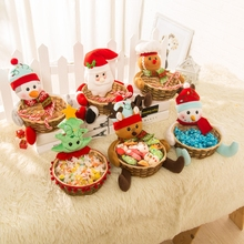 1 Piece Christmas Candy Basket Xmas Ornament Small Gift Basket Fruit Box Counter Desktop Scene Layout Decoration Christmas Gift