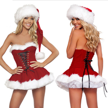 Sexy Adult Women Christmas Costume Sweetheart Miss Santa Christmas Dress Nightclub dancers Cosplay Ccostumes Free Shipping