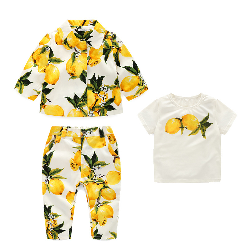 Retail 2017 New Spring and autumn girls clothes 3pcs  Fashion lemon suit of the girls  Coat + T-shirt, trousers  High quality<br><br>Aliexpress
