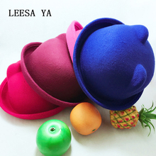 Vogue Cloche Feather Wool Felt Bowler Hat Cute Cat Ear Fedoras Fall Winter Warm Women Girls Gorras Chapeau Sun Hats Chapeau Hat(China)