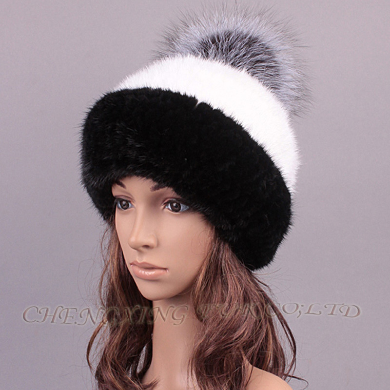 CX-C-221B Casual Women Striped Knitted Genuine Mink Fur Hat