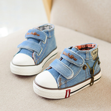 Canvas Children Shoes Baby Toddler Shoes Boys Sneakers  Kids Shoes for Girls Jeans Denim Flat Boots with Decorative Zip Design