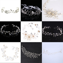 Fashion Silver Hair Jewelry Simulated Pearl Rhinestone Headband Bridal tiaras Hairbands Headpiece Wedding Women Hair Accessories(China)