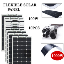 flexible solar panel 1000w solar cell 100w 10pcs 18vdc output 23% charging efficiency(China)