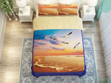 orange sea bulls bird beach printed bedding set for adult home decor twin full queen king size comforter duvet covers bedclothes