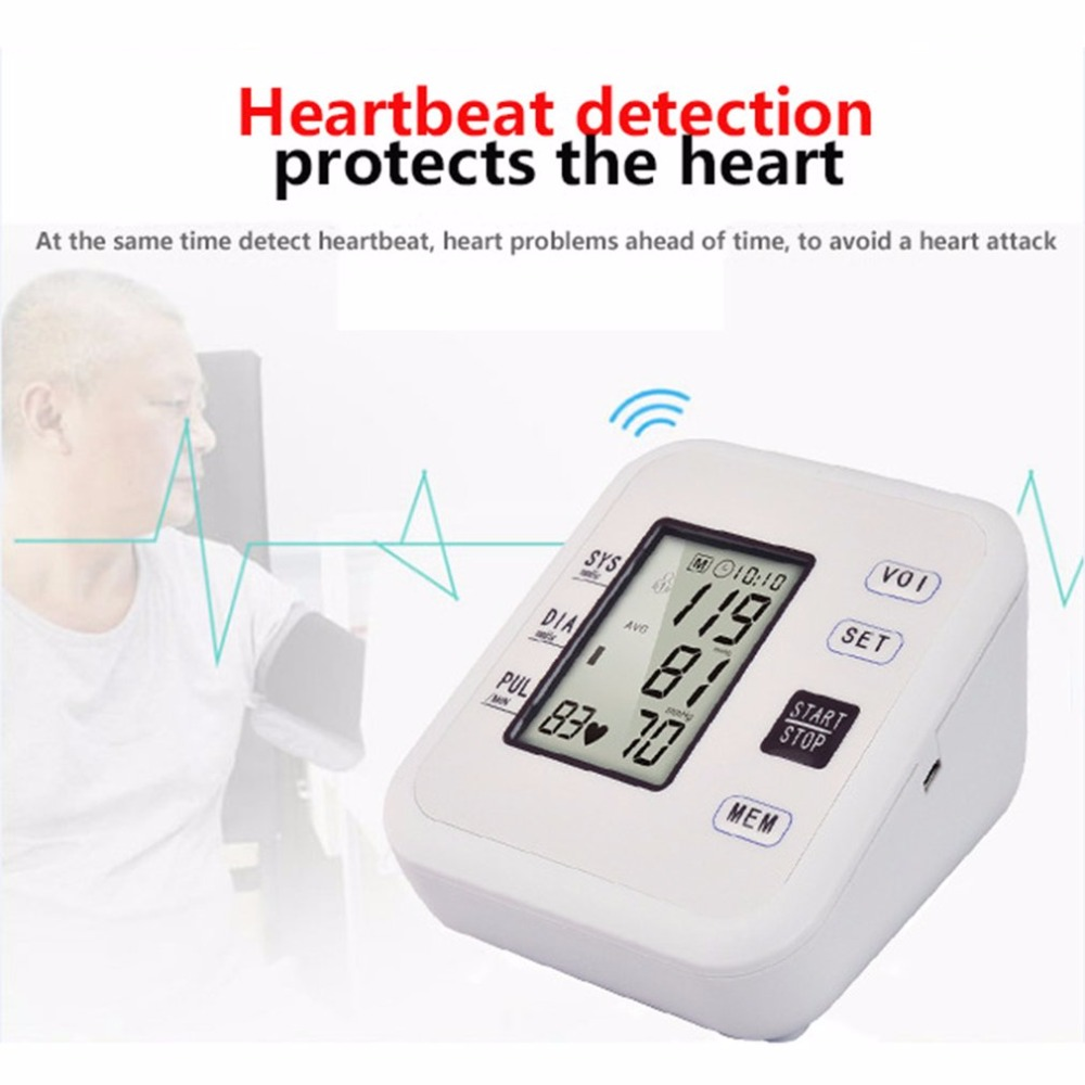 Arm Type Rechargeable Voice Tonometer Smart Digital Pulse Blood Pressure Monitor Health Care Household Sphygmomanometer 11