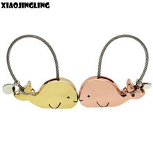 XIAOJINGLING Cute Whale Keychain Charm Couples Lovers Key Ring New Fashion Men Women Key Chain Best Friend Gifts Birthday Gifts(China)