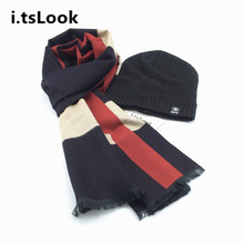 2017 Luxury Winter Hat Scarf Set for men Caps Brand Design Scarves Knitted Beanies 2 pieces set Warm Scarf Snow Cap gifts BF-415(China)