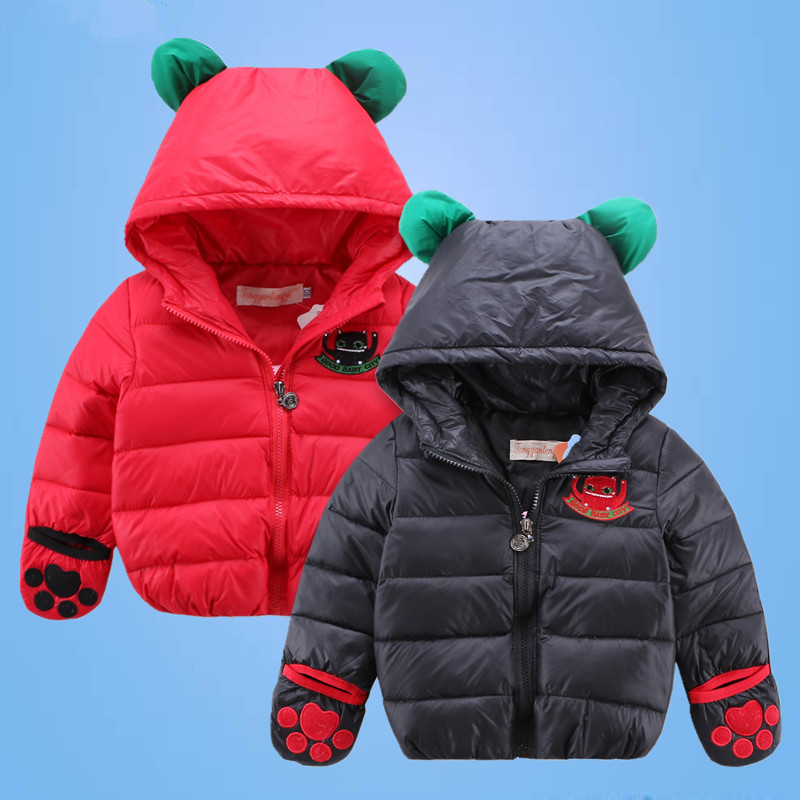 2016 Personality cute childrens down jacket fashion girls boys hooded down coat winter kids embroidery monster outwear16A12Одежда и ак�е��уары<br><br><br>Aliexpress