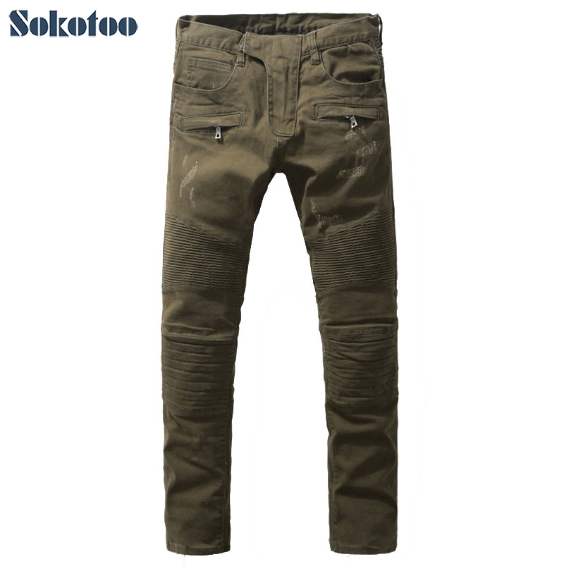 Mens fashion army green slim fit biker jeans for man Casual pleated straight denim long pants Free shippingОдежда и ак�е��уары<br><br><br>Aliexpress
