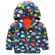 Cartoon Dinosaur Bomber Jackets Boys Coats Causal Hooded Jackets For Baby Boys Outerwears 1-5Y Children's Jackets Autumn SC412