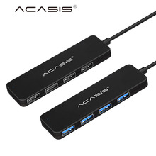 Acasis USB 2.0 3.0 Compact Light weight Portable High Speed USB Hub for Laptop 4 Ports Adapter Usb 2.0 3.0 USB Splitter - Black(China)