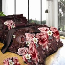 Many Styles 3d Rose Bedding Set Peach Floral Bedding Linens king size 3d Flower Rose Duvet Cover Flat Sheets Christmas gifts(China)