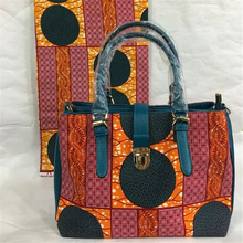New Wax Printed Hand Bag with nice PU leather + Super real wax print one piece of 6yards  BG1023