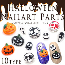 10pcs/bag Retail Japan New 3D Nail Sticker Metal Pumpkin Ghosts Skull For Halloween DIY Charm Nail Tools for manicure