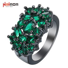 New Flower black Rings for women fashion jewelry gift elegant princess Green Stone czech zircon Engagement Ring factory Price(China)