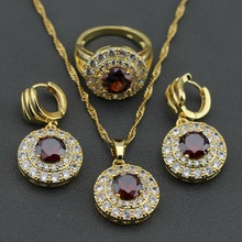 Charming Round Red Garnet Austria Crystal GP Jewelry Set Earrings Necklace Pendant Ring Size 6 7 8 9 10 Free Gift Box KT40(China)