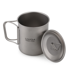 Lixada Outdoor Titanium Cup Mok Potten Servies Camping Cup Picknick Water Cup Mok Koffie Thee met Deksel 300/ 350/420/550/650/750 ml(China)