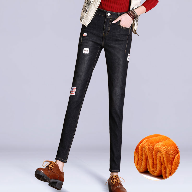 Black Plus Velvet Denim Jeans Female High Waist Thick Pencil Pants Winter Warm Plus Size Elastic Skinny Jeans For Women TrousersОдежда и ак�е��уары<br><br><br>Aliexpress