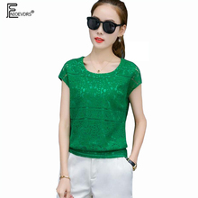 New Arrival Summer 2017 European American Style Women Fashion Formal Ladies Top O Neck Sexy Hollow Out Lace Green Blouse 3XL 727