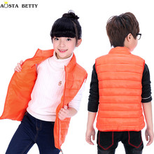 AOSTA BETTY Children's Vest 2017 Baby Girl Vest Casual Sleeveless Boys Vests Boy Kids Winter Down Cotton Autumn Vests&Waistcoats(China)