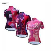 TELEYI Womens Sports Outdoor Team Ropa Ciclismo Short Sleeve Girls Cycling Jersey Tops Bike Bicycle Jersey T-shirt XS-4XL