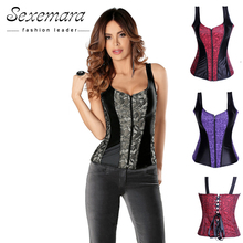 Waist fashion Corset Lace Satin Stitching Zipper Halter Corsets Body Shapewear Bustier Cincher Bustier Corselet Corpete CO15(China)
