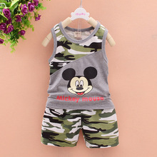 Clearance Sale Newborn baby Boys clothes summer cartoon camouflage Mickey  children girls clothing sets kids clothes tracksuit