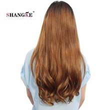 SHANGKE Long Wavy 2 clips In Hair Extensions Natural Clip In Fake Hair Heat Resistant Synthetic Hair Pieces Women Hairstyles(China)