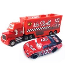 Fashion Sex Red color Metal No.123 Uncle Jimmy Race Car Driver Container Truck and His Car Model Vehicle Toy for kids