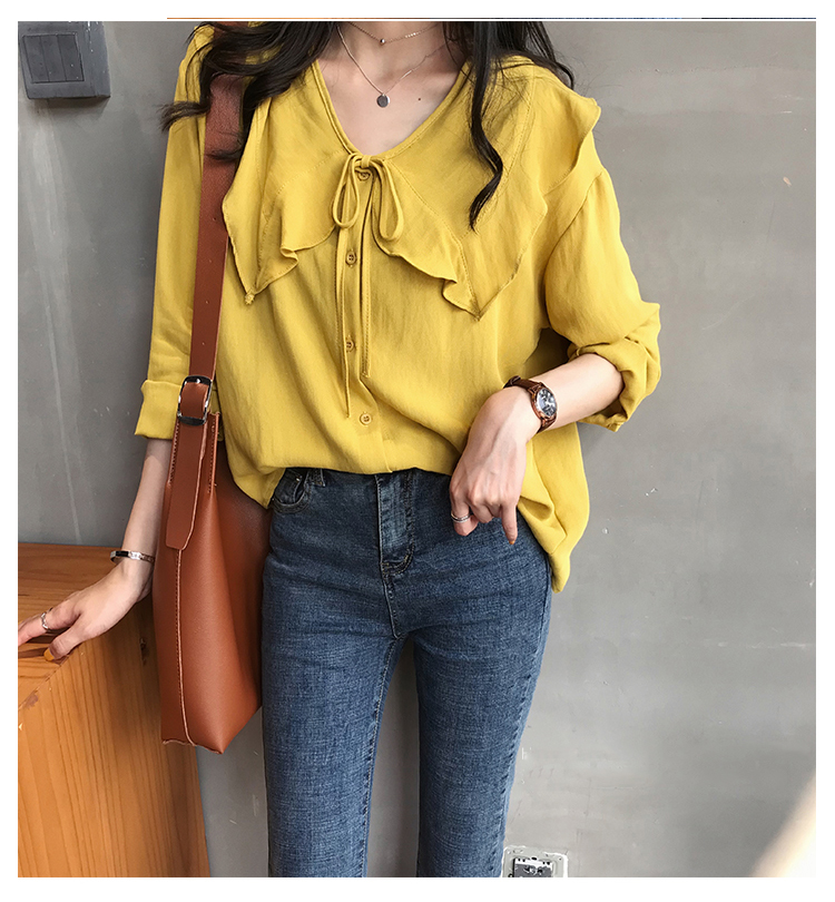 Kimono Cardigan Cotton Linen Peter Pan Collar Womens Tops and Blouses Tie Bow Shirt Loose Oversized Casual Ruffles Blouse Women 13 Online shopping Bangladesh