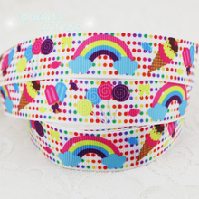 "7/8"" (22mm) printed grosgrain rainbow candy cake ribbon colored decoration ribbons"