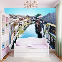 Free shipping Chinese ancient city building mural Restaurant Hotel decorative backdrop 3d wall wallpaper