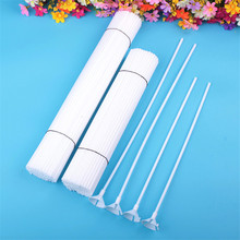 20 set/lot Plastic Balloon Stick white Rods for Supplies Balloons Holder Sticks with cup Party Decoration Accessories