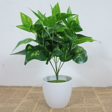 New Hot 7 Branches 1 Green Imitation Fern Plastic Artificial Grass Leaves Plant For Home Wedding Decoration NO Vase