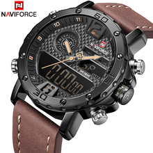 Buy NAVIFORCE Luxury Brand New Men Military Sport Watches Men's Leather Quartz Watch Male Led Analog Digital Clock Relogio Masculino for $22.99 in AliExpress store