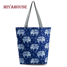 Miyahouse Trendy Elephant Print Canvas Tote Bag For Women Single Shoulder Handbags Lovely Cartoon Shopping Bag High Quality(China)