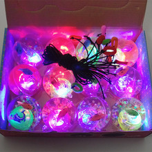 2016 new rope light ball wholesale 55mm transparent crystal ball flash LED lamp luminous toy balls