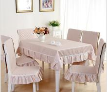 Chenille pastoral lace tablecloth set suit 130*180cm table cloth matching chair cover 1 set price 5 colors free ship