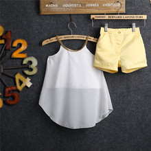 Fashion New Baby Girls 2017 Chiffon Top Shirt Blouse Hot Pants Kids Outfits Clothes Age 2-11Y