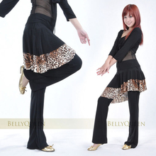 Belly Dance Costume #15 skirt pants with leopard pattern hemlines long pants for dance practice dancewear SF328
