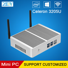 XCY Barebone Mini PC Computer Celeron 3205U Dual Cores Fanless Office Computer HTPC Windows 10 WIFI HDMI VGA USB3.0