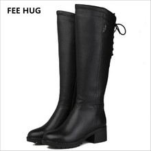 FEE HUG -30 Winter Woman's Boots Natural Wool Genuine Leather Women Riding Boot Women Winter Shoes Keep Warm Wide Knee Boots(China)