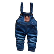 BibiCola Spring Children Overall Pants Baby Boys Pants Kids Jeans Overalls Jumpsuits Cotton Denim Trousers Bebe Pants for boys(China)