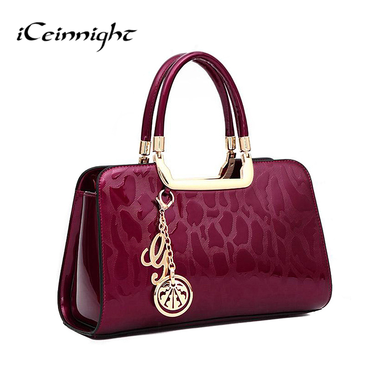 iCeinnight fashion Russia style women handbag crossbody Bags quality patent leather pendant tote messenger bag Clutches gold<br>