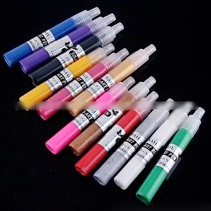 New 12 Color Nail Art Pens Painting Design Tool Drawing 3D Stereo Carve Patterns(China (Mainland))