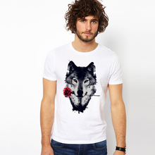 2017 Summer Newest Men T Shirt Cool Rose Wolf Printing T-Shirt Short Sleeve Modal O-Neck Tops Tees High Quality Novelty Clothing