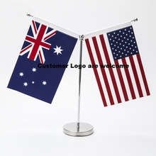 U.S.A Australia Table Flag with Stand Y style 14*21CM High Quality Can be your logo