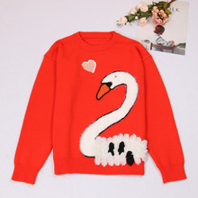 SRUILEE Brand Design Swan Embroidery Jumper 2018 New Spring Women Sweater Pullover Knit Top Stylish Shirts Female Jersey Runway(China)